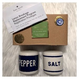 KATE SPADE Lenox Navy Blue White Salt & Pepper Set
